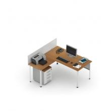 Стол офисный угловой П1 с приставкой и экраном (ширина 1600)