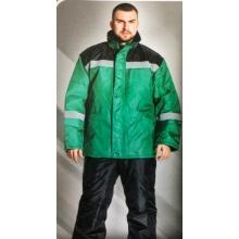 """Куртка зимняя """"Импульс"""" черная с зеленым"""